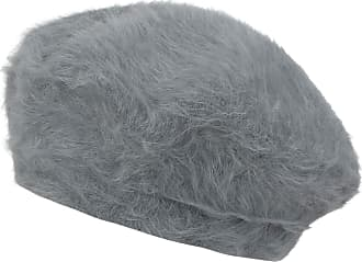 Ililily Solid Color Angora French Beret Furry Artist Flat Winter Hat, Dark Grey Without Tab
