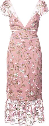 Marchesa floral-embroidered midi dress - Pink