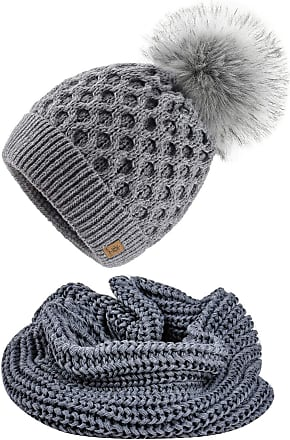 4sold Ladies Womens Beanie Warm Winter Bobble Faux Fur Pom Pom Wooly Full Liner Cossy - Set Model 2 Grey 03