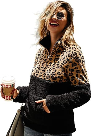 YYW Womens Casual Leopard Print Patchwork Zip Up Sweatshirts Pullover Outwear Zip Up with Pockets (Black,S)