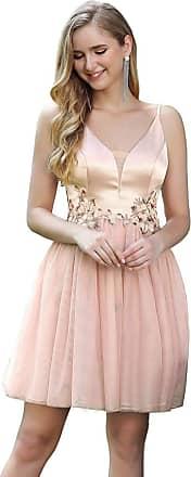 Ever-pretty Womens V Neck Adjustable Spaghetti Strap Tulle Empire Mini Cocktail Dresses with Applique Blush 14UK