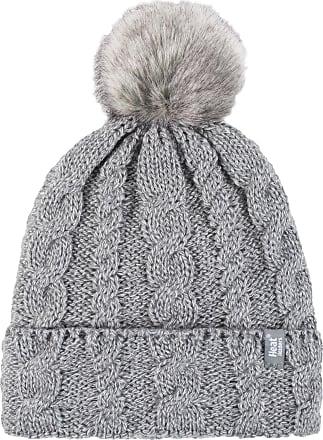 Heat Holders 1 Ladies GENUINE Heat Holder Heatweaver Cable Knit Thermal Winter Warm HAT TOG 3.4 Variations - Pom Pom/Turn Over Cuff/Standard Beanie (Ladies L.Grey