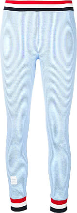 Thom Browne Rwb Trim Seersucker Leggings - Blue