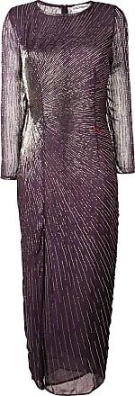 Giacobino bead embroidered slit front dress - Roxo