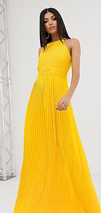 ef650af3d839 Tfnc Tall high neck pleated maxi dress in yellow