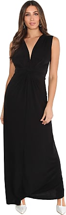 Krisp Women Ladies Knot V Neck Sleeveless Long Maxi Dress Party (Black, 10), 3278-BLK-10
