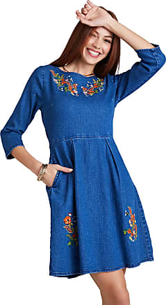 Yumi Blue Bee Floral Embroidery Denim Dress