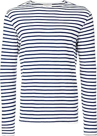 Officine Generale Camiseta listrada mangas longas - Branco