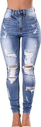 junkai Womens Stretch Denim Destroyed Ripped Butt Lifting Jeans Skinny Jeans Distressed Stretch Jeans Legging Dark Blue 3XL