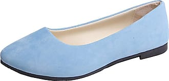 Vdual Ladies Slip On Flat Comfort Walking Ballerina Shoes Summer Loafer Flats UK 2.5-UK 8.5 Light Blue