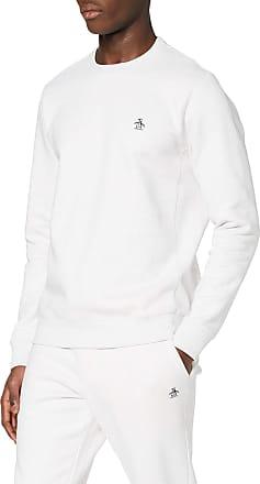 Original Penguin Mens Sticker Pete Sweat Sweatshirt, Off-White (Light Grey Melange 059), Medium (Size:Medium)