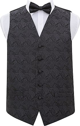 DQT Men Paisley Floral Wedding Waistcoat Bow Tie and Hanky Charcoal Grey 48