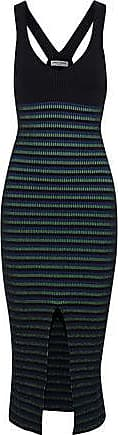 Opening Ceremony Opening Ceremony Woman Split-front Striped Ribbed-knit Midi Dress Black Size L