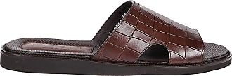 Doucal's Croco Print Leather Sandals, 40.5 Brown