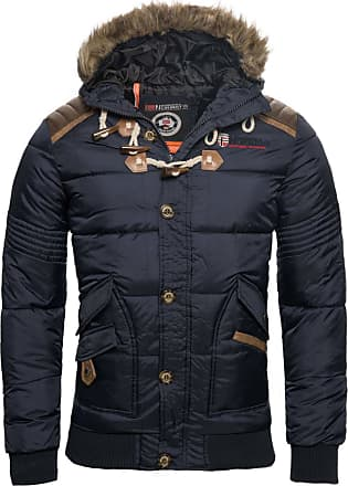 Geographical Norway Mens Winter Jacket Quilted Jacket Parka Belphegor Winter Jacket with Norway Neckerchief - Blue - XXX-Large