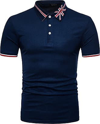 NPRADLA Polo Shirts T-Shirt Mens Summer Handsome African Print Muscle Pullover Short Sleeve Shirt Top Blouse Navy
