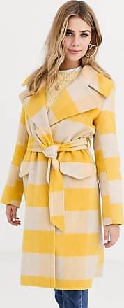 Miss Selfridge longline tailored coat with tie waist in yellow check-Multi