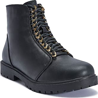 Truffle Colt20 Black Comabt Boots Flat Cleated Chain Lace Up Ankle Boot[Ladies UK 3 / EU 36]