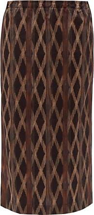 Raey Elasticated-waist Aztec-print Cotton Midi Skirt - Womens - Black Print
