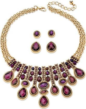 PalmBeach Jewelry Pear-Cut and Oval Simulated Amethyst Necklace and 2-Pair Stud Earrings Set in Gold Tone 18-22