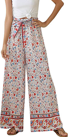 JERFER Womens Casual Floral Comfy High Waist Boho Bell Active Wide Bow Soft Leg Pants