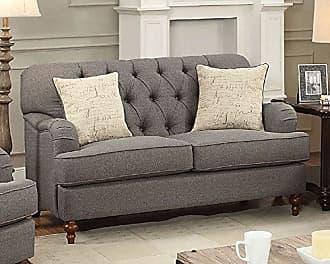 ACME 53691 Alianza Loveseat with 2 Pillows, Dark Gray Fabric
