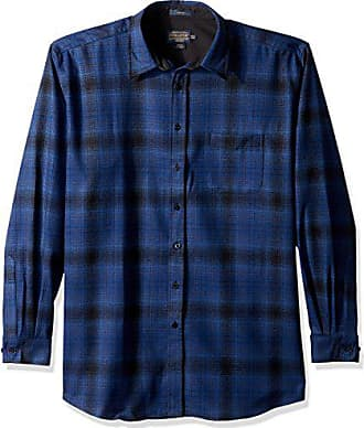 Pendleton Mens Long Sleeve Button Front Fitted Lodge Shirt, Blue/Black Ombre-31951, XS
