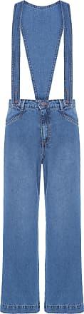 Cantão Calça Jeans A Moda Suspensório Love Cantão - Azul