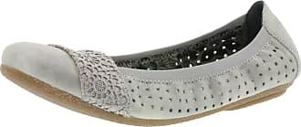 Rieker Womens Shoes 41487 Womens Ballet Flats, Loafers, Extra Soft Inner Sole, Elastic Band Grey (Grey/staub-Silber / 40), EU 38