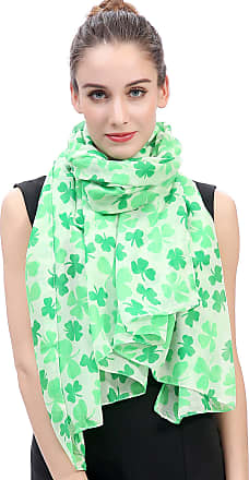 Lina & Lily Clover Shamrock Print Womens Large Scarf St Patrick Day (Green/White)