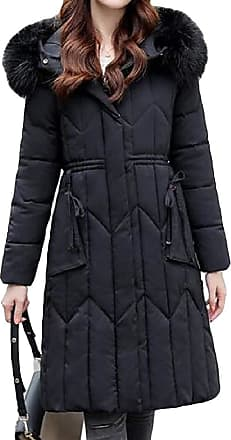 VITryst Womens Long Sleeve Thickened Hood Packable Long Down Jacket Outwear Tops,Black,3X-Large