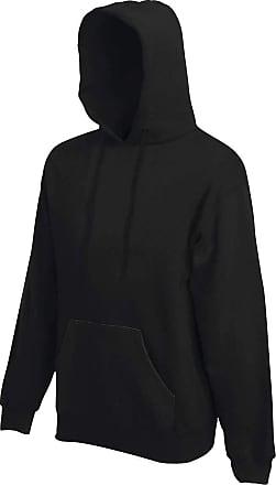 Fruit Of The Loom Hooded weater Mens-Double Hood with Drawstring, Set Sleeve, Kangaroo Bag, Rib Knit Bundles, Unisex - Black