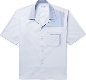 Maison Margiela Patchwork Cotton-poplin And Oxford Shirt - Light blue
