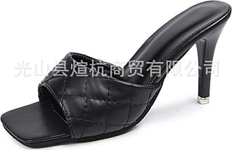 NOADream Women High-Heeled Sandals Party Slip-on Square Toe Cone Heel Party High Heels Open-Toe Courts Shoes Black
