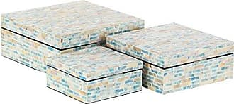 UMA Enterprises Inc. Deco 79 47332 Decorative Box, Merlot, Brick Red, Beige