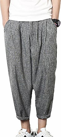 Vdual Men Baggy Lightweight Comfortable Harem Trousers Wide Leg Lounge Pants for Jogging Grey