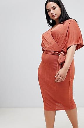 Asos Curve Esclusiva ASOS DESIGN Curve - Vestito a portafoglio midi audace con cintura da annodare-Marrone