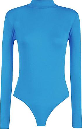 21Fashion Womens Long Sleeve Plain High Turtle Neck Bodysuit Ladies Leotard Look Party Wear Top Turquoise Small/Medium UK 8-10