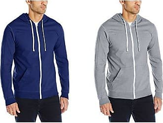 Fruit Of The Loom Mens Jersey Full-Zip Hood, Admiral Blue, 3XL with Heather Grey, 3XL