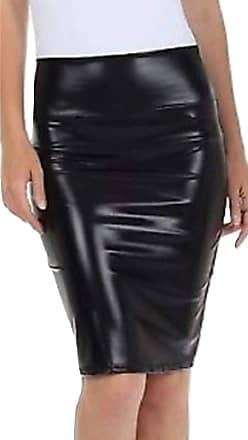 Momo & Ayat Fashions Ladies Metallic Shiny PVC Wet Look Disco High Waisted Pencil Skirt UK Size 8-26 (Black, 2XL (UK 20-22))