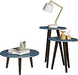 Manhattan Comfort Carmine Collection Mid Century Modern Accent Round End Tables With Splayed Legs, 3 Piece Set, Blue/Wood