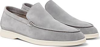 Loro Piana Summer Walk Suede Loafers - Light gray
