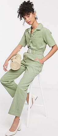 & Other Stories wide leg cord utility jumpsuit in light green