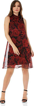 Roman Originals Womens Floral Roll Neck A-Line Sleeveless Dress - Ladies Roses Fashion Dresses for Special Party Sexy Evening Dinners Dates Occasion Wear - Red - Size
