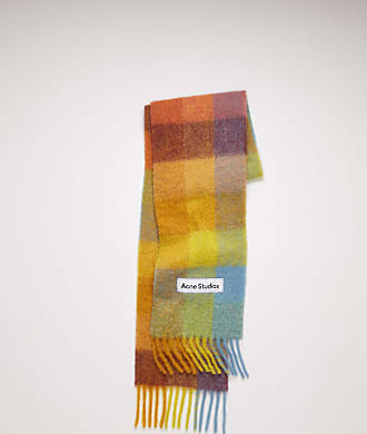 Acne Studios FN-UX-SCAR000115 Yellow/powder blue/brown Multi check scarf