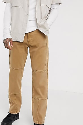 Collusion seam detail straight leg jeans in camel-Brown