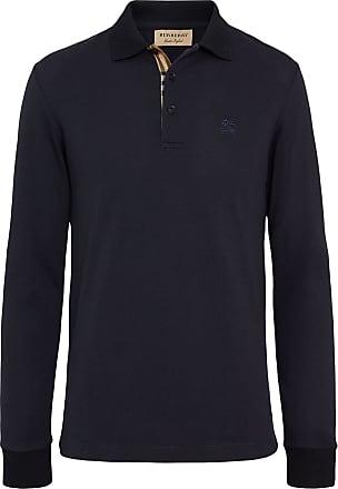 Burberry Long-sleeve Cotton Piqué Polo Shirt - Blue