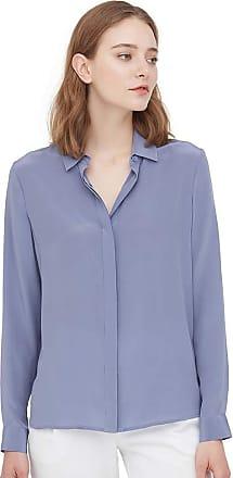 LilySilk Silk Dress Shirts for Women Semi-Formal Work Natural Mulberry Silk Long Sleeve-Pale Lilac (Dusty Blue, XXL)