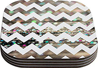 KESS InHouse Beth EngelAfter Party Chevron Coasters, 4 by 4-Inch, Multicolor/Photography, Set of 4