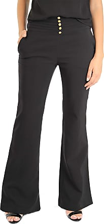101 Resort Wear Calça 101 Resort Wear Flare Crepe Cintura Alta Botoes e Nervuras Cor Preta (P)